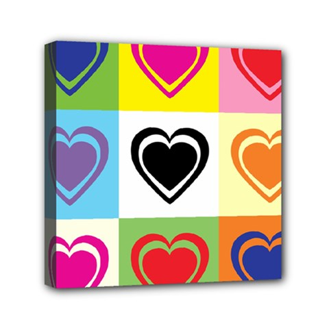 Hearts Mini Canvas 6  x 6  (Framed)