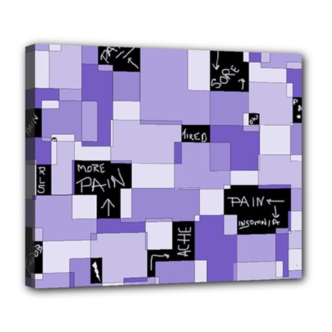Purple Pain Modular Deluxe Canvas 24  X 20  (framed) by FunWithFibro