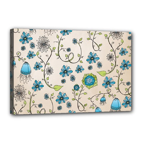 Whimsical Flowers Blue Canvas 18  X 12  (framed) by Zandiepants