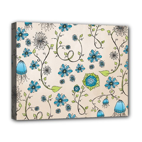 Whimsical Flowers Blue Deluxe Canvas 20  x 16  (Framed) by Zandiepants