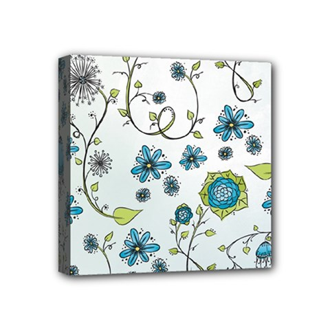 Blue Whimsical Flowers  On Blue Mini Canvas 4  X 4  (framed) by Zandiepants