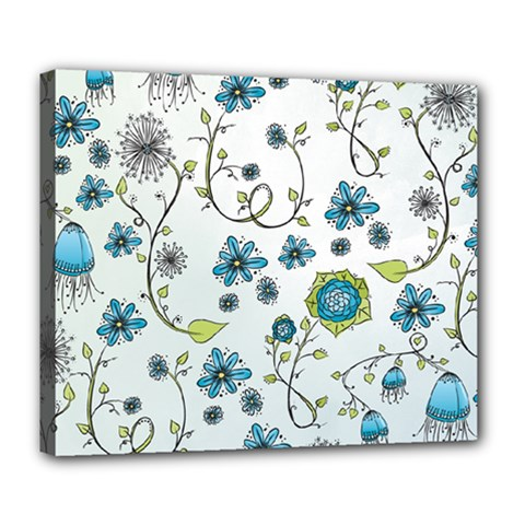 Blue Whimsical Flowers  On Blue Deluxe Canvas 24  X 20  (framed) by Zandiepants