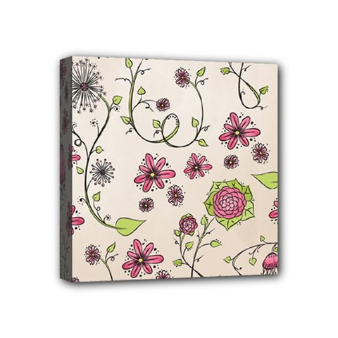 Pink Whimsical Flowers On Beige Mini Canvas 4  X 4  (framed) by Zandiepants