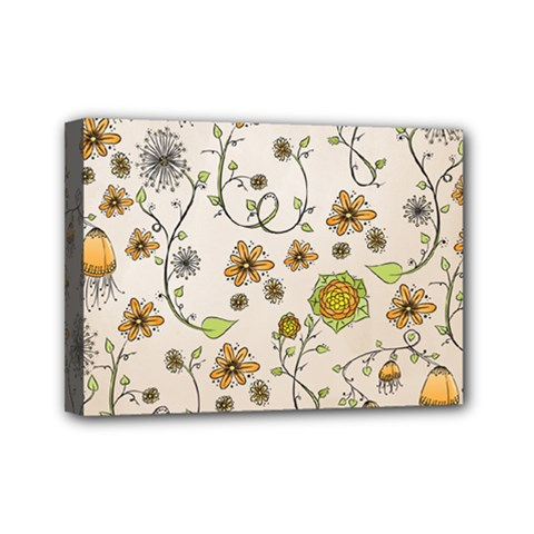 Yellow Whimsical Flowers  Mini Canvas 7  X 5  (framed) by Zandiepants
