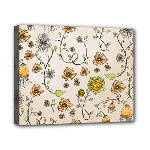 Yellow Whimsical Flowers  Canvas 10  X 8  (framed) by Zandiepants