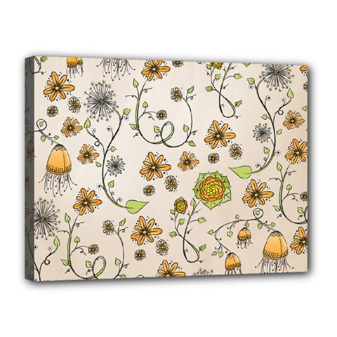 Yellow Whimsical Flowers  Canvas 16  X 12  (framed) by Zandiepants