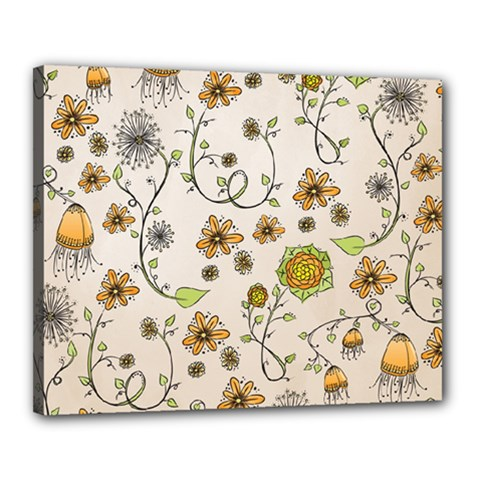 Yellow Whimsical Flowers  Canvas 20  X 16  (framed) by Zandiepants