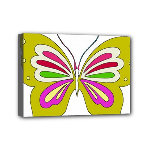 Color Butterfly  Mini Canvas 7  X 5  (framed) by Colorfulart23