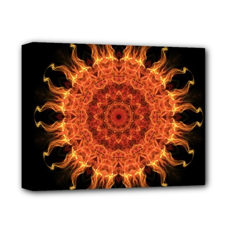 Flaming Sun Deluxe Canvas 14  X 11  (framed) by Zandiepants