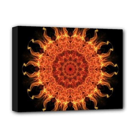 Flaming Sun Deluxe Canvas 16  X 12  (framed)  by Zandiepants