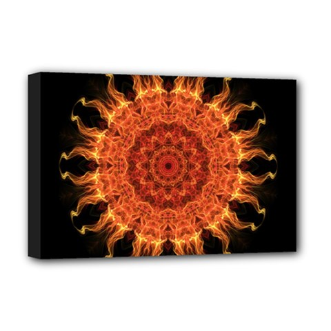 Flaming Sun Deluxe Canvas 18  X 12  (framed) by Zandiepants