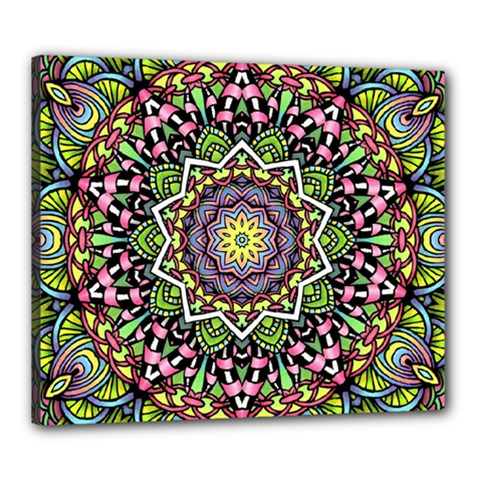 Psychedelic Leaves Mandala Canvas 24  X 20  (framed) by Zandiepants