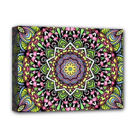 Psychedelic Leaves Mandala Deluxe Canvas 16  X 12  (framed)  by Zandiepants