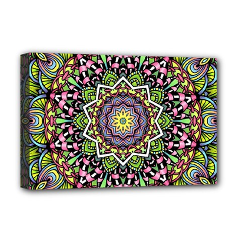 Psychedelic Leaves Mandala Deluxe Canvas 18  X 12  (framed) by Zandiepants