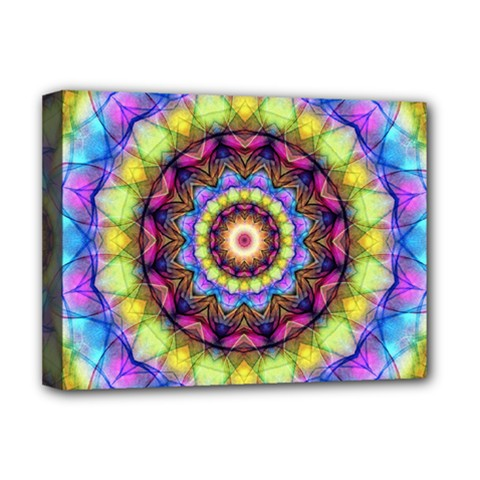 Rainbow Glass Deluxe Canvas 16  X 12  (framed)  by Zandiepants