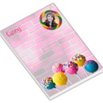 Candy Lollies Hot Pink Girls Pad with name, photo - Large Memo Pads