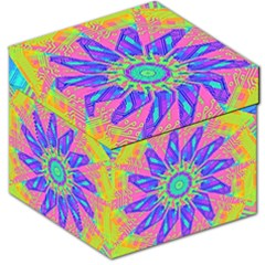 Neon Flower Purple Hot Pink Orange Storage Stool 12  by CrypticFragmentsColors