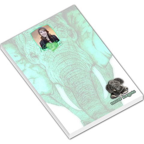 Elephant Lovers   Never Forgets   Emerald  Memo Pad By Charley Heselti   Large Memo Pads   A5n9k51lb01w   Www Artscow Com
