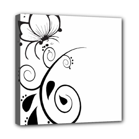 Floral Butterfly Design Mini Canvas 8  X 8  (framed) by OneStopGiftShop