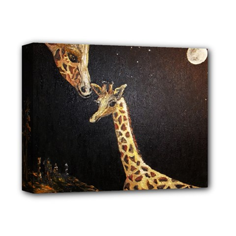 Baby Giraffe And Mom Under The Moon Deluxe Canvas 14  x 11  (Framed) by rokinronda