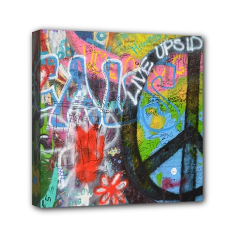 Prague Graffiti Mini Canvas 6  X 6  (framed) by StuffOrSomething