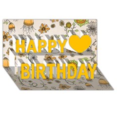 Yellow Whimsical Flowers Happy Birthday 3D Greeting Card (8x4) by Zandiepants