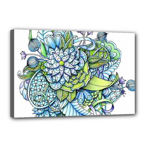 Peaceful Flower Garden Canvas 18  X 12  (framed) by Zandiepants