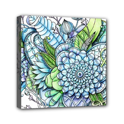 Peaceful Flower Garden 2 Mini Canvas 6  X 6  (framed) by Zandiepants