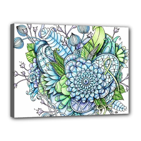 Peaceful Flower Garden 2 Canvas 16  X 12  (framed) by Zandiepants