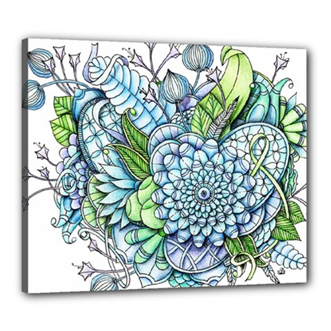 Peaceful Flower Garden 2 Canvas 24  X 20  (framed) by Zandiepants