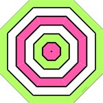 Neon Pink, Green and white stripes Hook Handle Umbrella (Large)
