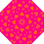 Hot Pink and Orange Hearts Hook Handle Umbrella (Large)