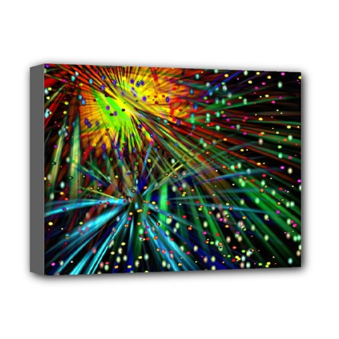 Exploding Fireworks Deluxe Canvas 16  x 12  (Framed)  by StuffOrSomething