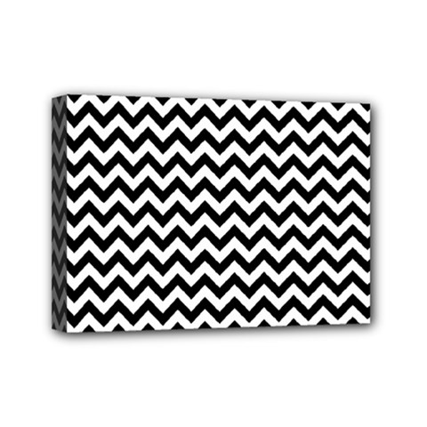 Black And White Zigzag Mini Canvas 7  X 5  (framed) by Zandiepants