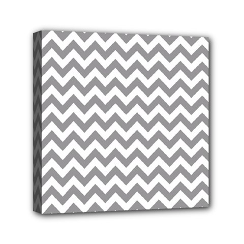 Grey And White Zigzag Mini Canvas 6  X 6  (framed) by Zandiepants