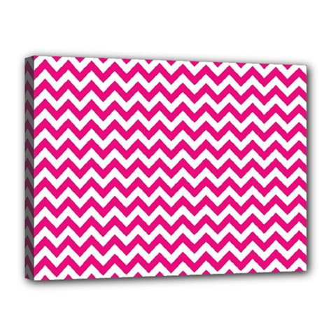 Hot Pink And White Zigzag Canvas 16  X 12  (framed) by Zandiepants