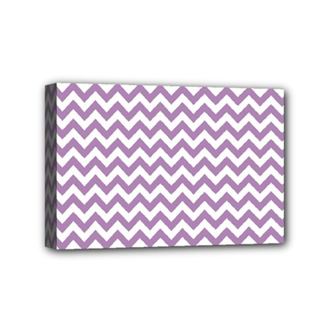 Lilac And White Zigzag Mini Canvas 6  X 4  (framed) by Zandiepants