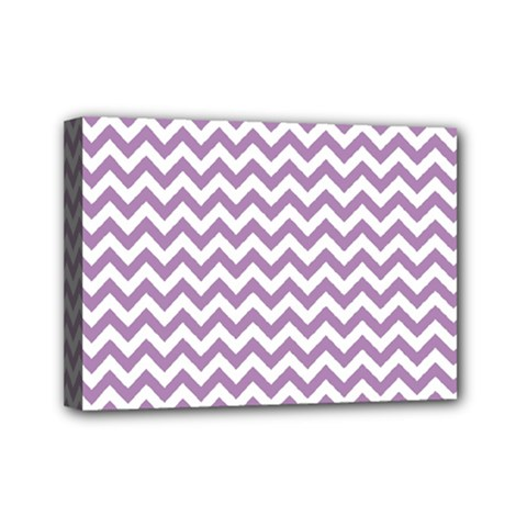 Lilac And White Zigzag Mini Canvas 7  x 5  (Framed) by Zandiepants