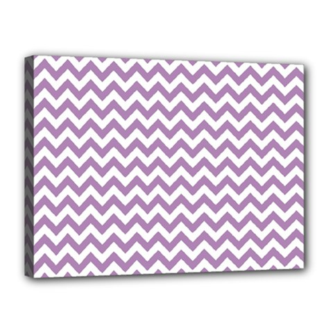 Lilac And White Zigzag Canvas 16  X 12  (framed) by Zandiepants