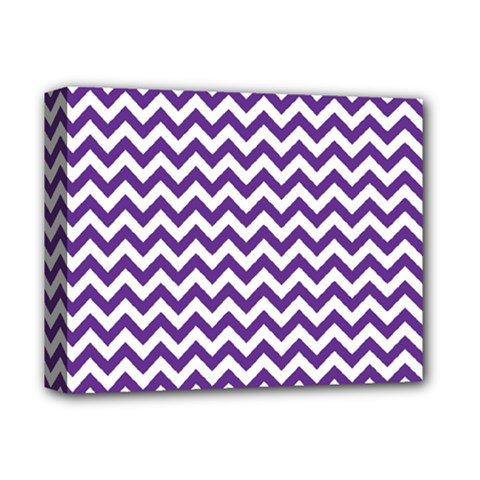 Purple And White Zigzag Pattern Deluxe Canvas 14  x 11  (Framed) by Zandiepants