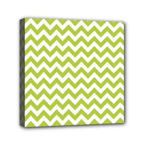 Spring Green And White Zigzag Pattern Mini Canvas 6  X 6  (framed) by Zandiepants