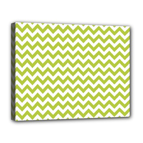 Spring Green And White Zigzag Pattern Canvas 14  X 11  (framed) by Zandiepants