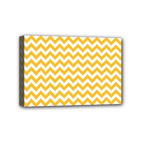 Sunny Yellow And White Zigzag Pattern Mini Canvas 6  X 4  (framed) by Zandiepants