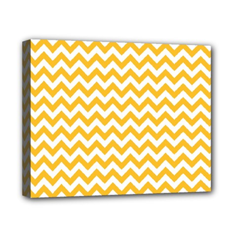 Sunny Yellow And White Zigzag Pattern Canvas 10  X 8  (framed) by Zandiepants