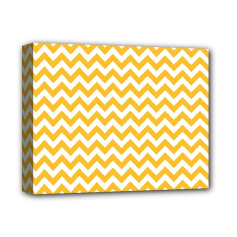 Sunny Yellow And White Zigzag Pattern Deluxe Canvas 14  X 11  (framed) by Zandiepants