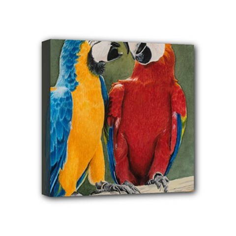Feathered Friends Mini Canvas 4  X 4  (framed) by TonyaButcher