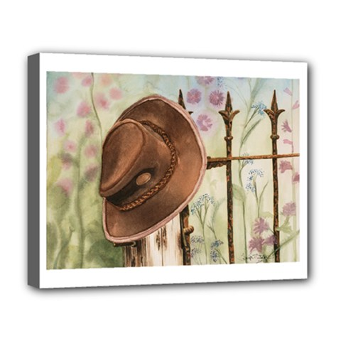 Hat On The Fence Deluxe Canvas 20  X 16  (framed) by TonyaButcher