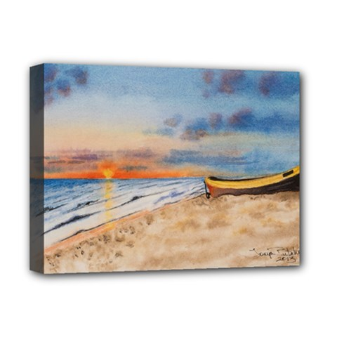 Sunset Beach Watercolor Deluxe Canvas 16  X 12  (framed)