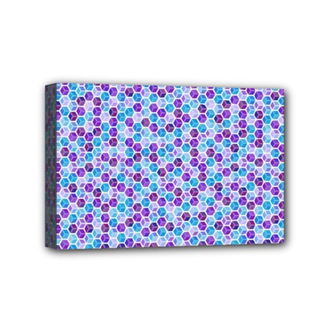 Purple Blue Cubes Mini Canvas 6  X 4  (framed) by Zandiepants