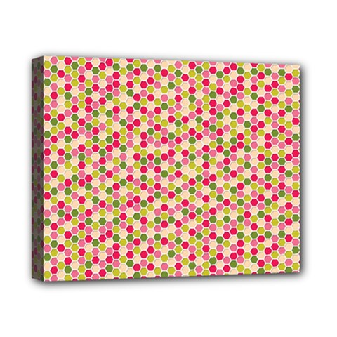 Pink Green Beehive Pattern Canvas 10  X 8  (framed) by Zandiepants
